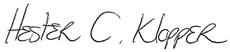 Hester Klopper's signature